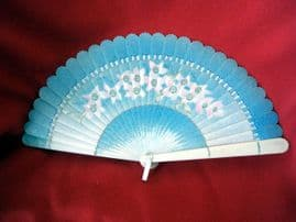 1920's -1930's Celluloid Brise Fan with Floral Decoration  Sold