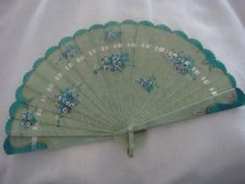 1920's Celluloid Fan in Green Striped Design with Handpainted Floral Work (Sold)