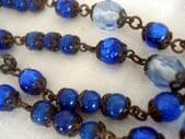 1930's Bead Necklace -  Blue Mixed Glass and Wired (SOLD)