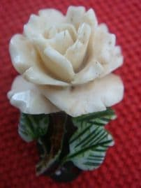 1930's Carved Bone Rose Dress Clip -  Small Cream Rose with Green Leaves