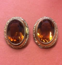 1930s Clip On Earrings with Honey Amber coloured Glass Oval Jewels