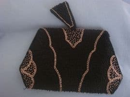 1930s Clutch Purse - Black with Bronze and Black Beadwork (sold)