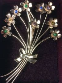 1940's Signed Coro, USA Romantic tied flower brooch in Gold on Sterling Silver (SOLD)