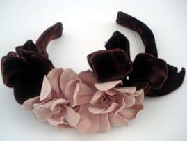 1940's Soft  Brown Silk Velvet Hair Band with Pink Camelia Flowers (sold)