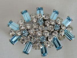1940s - 1950s White and Aquamarine Blue Brooch