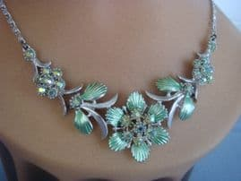 1950's Floral Necklace with Austrian Crystal Jewels (Sold)