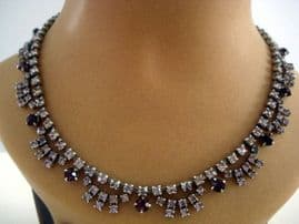 1950's Jewelled Swagged Collar Necklace in Two shades of Purple (Sold)