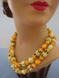 1950s - 1960s Vintage Necklace - Lemon Flowers and Orange Beads - Fab Early Plastic Jewellery (sold)
