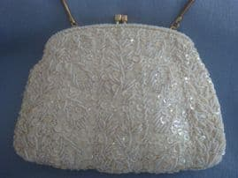 1950s - 60s Beaded and Sequinned Handbag - Creamy White Perfect for Bride (SOLD)