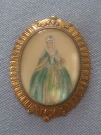 1950s Crinoline Lady Brooch in Soft Colours