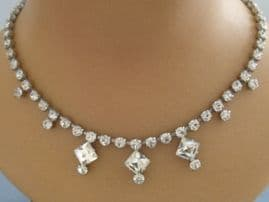 1950s Diamante necklace with three large square stones like 'Princess Cut' diamonds. Bridal necklace or party wear vintage costume jewellery