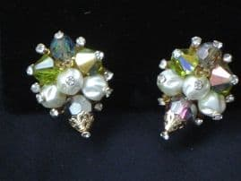 1960's American Crystal and Faux Pearl Earrings by Vendome