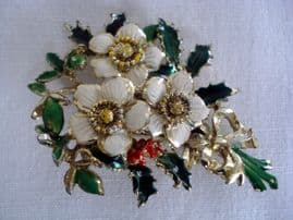 1960's Christmas Rose Brooch by Exquisite (Larger Sized Brooch)  (SOLD)