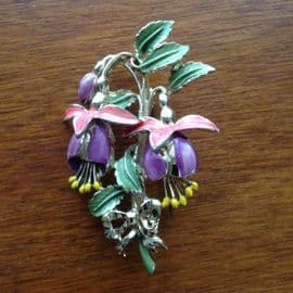 1960's Fuschia Pin - Flower Brooch signed Exquisite (SOLD)