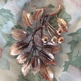 1960's Signed 'Exquisite' Cherries and Leaves Brooch in Copper coloured finish