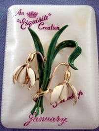 1960's signed Exquisite Enamel Snowdrop Flower Brooch New Range - Mint and Boxed(SOLD)