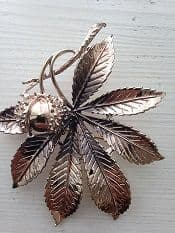 1960's Signed Exquisite Horse Chestnut Brooch - Vintage Copper Conker Pin     SOLD