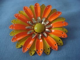 1960's Vintage Floral Brooch in Orange, Yellow and Gold (SOLD)