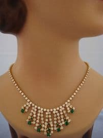 1960s Emerald Green and White Diamante Necklace (Sold)