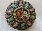 19th Century Micro Mosaic Floral Pin - Round Brooch, Exceptional Detail (SOLD)