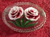 A Carnation Brooch - 1940s Vintage Reverse Carved Lucite  'circle and dot' border (1)