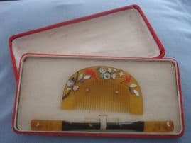 A  Hair Comb Set From Japan - Kogai and Kushi Set - Early Showa Period ( 1930s - 1940s)