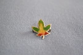 A Miniature Canada Souvenir Pin - Silver and Enamel Maple Leaf  - Yellow Middle