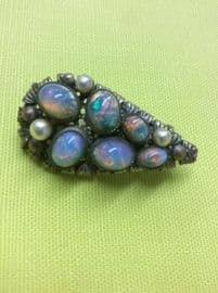 Antique Bohemian Brooch circa 1900 - 1920 set with Faux Opals and Pearls