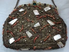Antique Gold Braid Vintage Evening Bag with real Branch Coral and Mother of Pearl Decoration.(sold)
