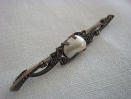 Antique Scandinavian Silver Bar Brooch with Blister Pearl and Marcasite Decoration