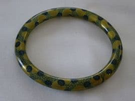 Armlet - Flapper Bangle - Gold Swirls and Green Roses - Celluloid -  French - Circa 1920 (SOLD)