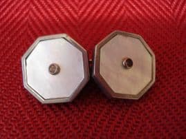 Art Deco Mother of Pearl and Paste Cufflinks (Sold)