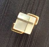 Art Deco Revival Tie Tack -  Mother of Pearl with gold lines (SOLD)