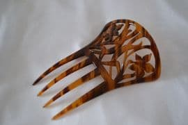 Art Nouveau Hair Comb in Imitation Horn - Floral Design (Sold)