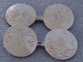 Art Nouveau White Plated Metal Cufflinks in New Gift Box (SOLD)