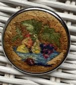 Bowl of Fruit- Very Bloomsbury - Hand-Embroidered Pin - Circa 1940s