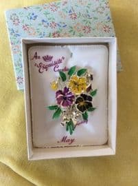 Bunch of Pansies Pin - An Exquisite Brooch in its orignal packaging.  - 1960s Collectable Brooch (SOLD)