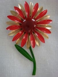 Cold Enamel Flower Pin - 1960s Daisy Brooch in Pink, Gold and Burgundy with Green Stem