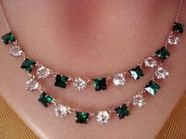 Crystal Necklace Circa 1920 - 1930 - Faux Emerald and White Jewels