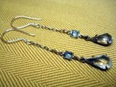 Edwardian to 1920s Glass Crystal Teardrop Earrings with Blue Square Stone(SOLD)