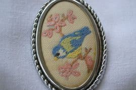 Embroidered Brooch - 1940's - 1950s - Blue Tit on Floral Branch (SOLD)