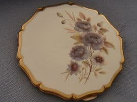 Enamel Powder Compact - Vintage Stratton - White and Grey Floral Compact  (SOLD)