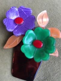 Flower Pot Brooch - Everlasting Blooms by Lea Stein Paris (SOLD)