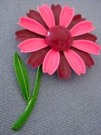 Flower Power Pin! 1960s Flower Brooch in Hot Pink and Burgundy (SOLD)