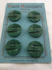 French 1930s Buttons - Marbled Green Colour on Original Sales Card SOLD
