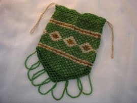 Hand beaded Dorothy Purse - Victorian - Green, Gold and White Beadwork