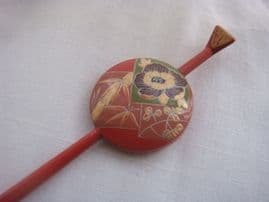 Vintage Hair Accessories - Japanese Lacquer Hair Pin circa 1920s -1930s. Unusual.