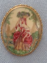 Lady Grape Picking! 1950s TLM Handpainted Brooch