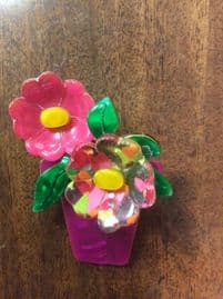 Lea Stein Brooch - Pink and multi-coloured flowers in Flower Pot SOLD(Slight Fault hence low price)