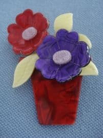 Lea Stein Brooch - Red and Purple Flower Pot (SOLD)